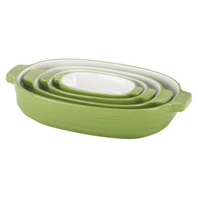 KitchenAid 4 Piece Nesting Ceramic Bakeware Set - Green