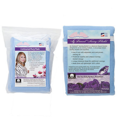 Nuangel, Inc. NuAngel Blue Nursing Blanket with Contoured Burp Pad Set