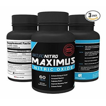 Maximus Nitric Oxide Tablets — High Potency NO Booster and L-arginine Supplement - Allows You to Build Muscle Faster, Workout and Train Longer and Harder — 60 Tablets, Pack of 3 - 180c