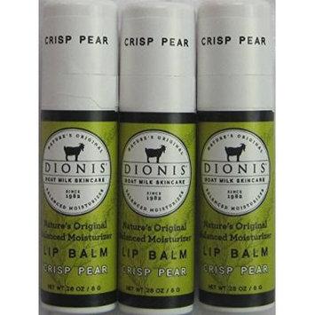 Dionis Lip Balm - Crisp Pear - 0.28 Oz Tube - Pack of 3 in a Gift Bag