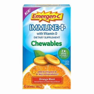 Emergen-C Immune+ with Vitamin D Chewables, Orange Blast 42 ea