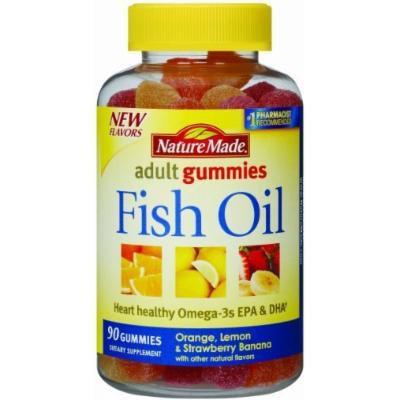 Nature Made Fish Oil Adult Gummies-90 Ct- Orange Lemon & Strawberry Banana Flavored (2 Pack)