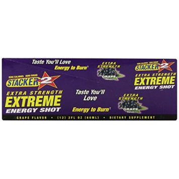 Stacker 2 Extreme Energy Shot Extra Strenght, Grape, 2 Fluid Ounce (Pack of 12)