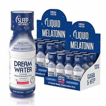 Dream Water Natural Sleep Aid, GABA, MELATONIN, 5-HTP, 2.5oz Shot, Nighttime Nectar 24 Count