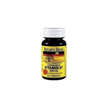 Nature's Blend Vitamin D3 400U Chewable Tablets Vanilla 100 Ct Pack of 3