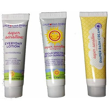 California Baby 0.5 Oz Sunscreen, Lotion, Diaper Rash Cream Set
