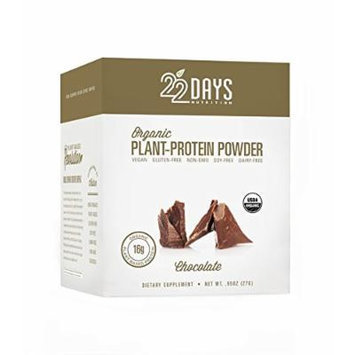 22 Days Nutrition Organic Plant Protein Powder, Chocolate, 12 Count