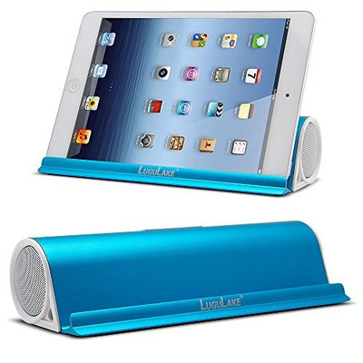 Upgraded Version LuguLake 6W Portable Bluetooth Speaker With Stand Dock , Wireless Stereo Bluetooth 4.0 Speakers Built-in 3.5mm Aux Port for iPhone 6, 5S, iPad Air, Mini, Samsung Galaxy S5, S6, HTC, Tablets, PC - Blue