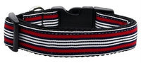 Mirage Pet Products 125007 MDRD Preppy Stripes Nylon Ribbon Collars Red White Medium