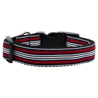 Mirage Pet Products 125007 MDRD Preppy Stripes Nylon Ribbon Collars Red White Medium