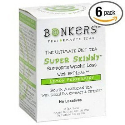 Bonkers Tea Super Skinny Tea, Lemon Peppermint, Tea Bags, 18-Count Boxes (Pack of 6)