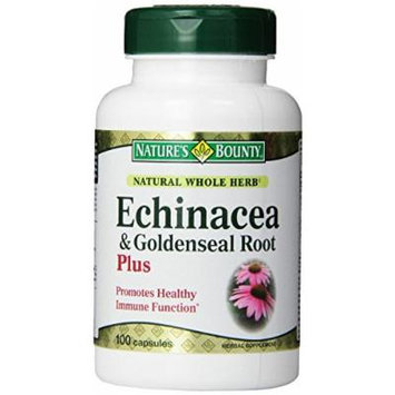 Nature's Bounty Natural Whole Herb Echinacea Goldenseal Plus, 100 Capsules Pack of 3