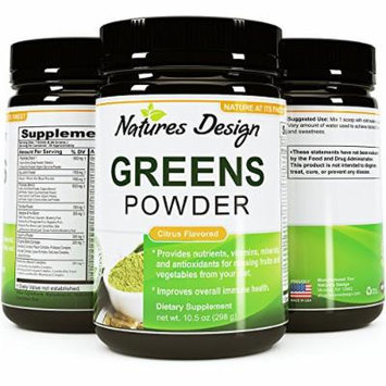 Superfood Greens Powder - Healthy Organic Blend - Energy Boost Supplement - Natural Gluten Free Dairy Free - Boost Immunity And Energy with Acai + Goji Berries & Green Tea + Kelp By Natures Design