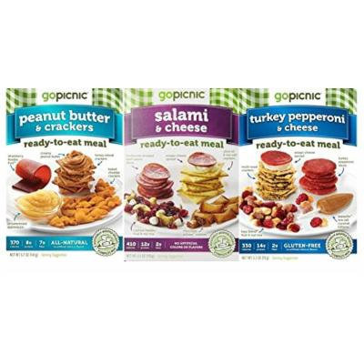 GoPicnic Ready-To-Eat Meals 3 Flavor Variety Bundle: (1) GoPicnic Turkey Pepperoni & Cheese, (1) GoPicnic Peanut Butter & Crackers, and (1) GoPicnic Salami & Cheese, 3.2-5.7 Oz. Ea. (3 Boxes Total)