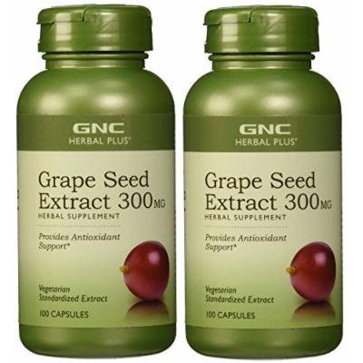 GNC Herbal Plus Grape Seed Extract 300mg -- 2 Bottles each of 100 Capsules