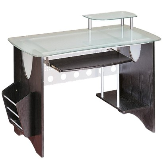 RTA Products Craft Desk: Techni Mobili Tempered Glass Computer Desk