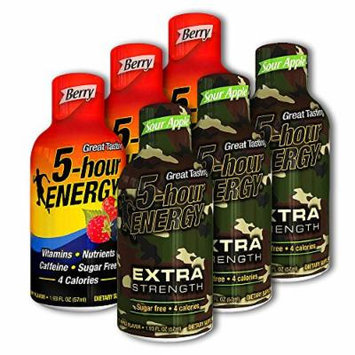 5 Hour Energy, 6 Berry + 6 Extra Strength Sour Apple 12 Count
