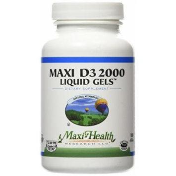Maxi Health D3 2000 Liquid Gels - Natural Vitamin D3 - Nutrition Supplement - 180 Capsules - Kosher