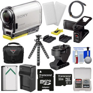 Sony Action Cam HDR-AS100V Wi-Fi GPS HD Video Camera Camcorder with 32GB Card + LCD Cradle + Tilt Mount + Adhesive & Battery + Case + Tripod + Kit