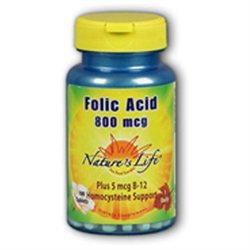 Nature's Life Folic Acid 800 MCG - 100 Tablets - Enzymes