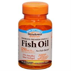 Sundown Naturals Odorless Omega-3 Fish Oil 1,290 mg Mini Softgels