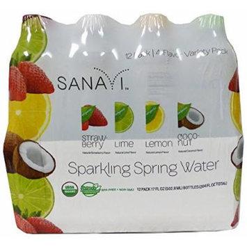 Sanavi Sparkling Spring Water, Variety Pack, 17 fl oz., 12 bottles