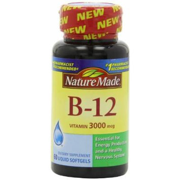 Nature Made Vitamin B-12 Softgels, 3000 Mcg, 60 CT (PACK OF 4)