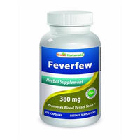 Feverfew 380 mg 180 Capsules by Best Naturals - Manufactured in a USA Based GMP Certified and FDA Inspected Facility and Third Party Tested for Purity. Guaranteed!!
