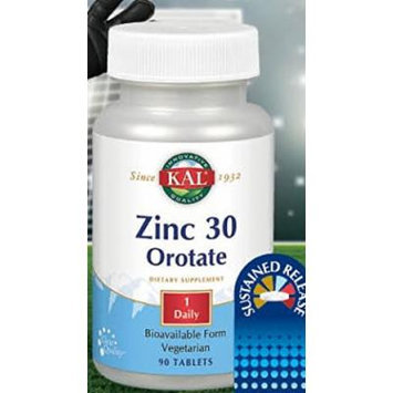 KAL Brand Zinc Orotate 30 MG Sustained Release 90 Tabs