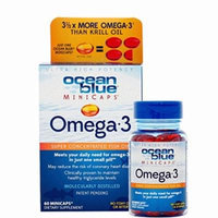 Ocean Blue Omega-3 MiniCaps+ Vitamin D3, 60 Count Pack of 4