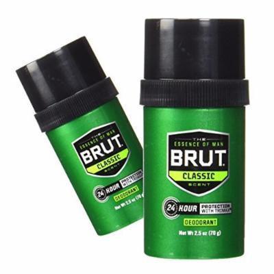 (2 Pack) Brut Deodorant, Round Solid, Classic Scent, 2.5 Oz. ea.
