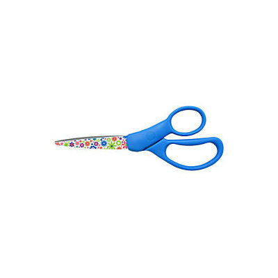 Westcott Straight-Handle Student Scissors, 7in, Pointed, Floral