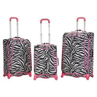 Rockland Polo Equipment 3-pc. Pink Zebra Spinning Luggage Set