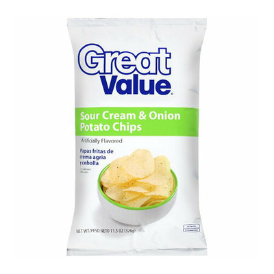 Great Value : Sour Cream & Onion Potato Chips