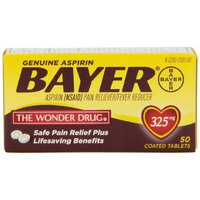 Genuine Bayer Aspirin 325mg Tablets, 50-Count (Pack of 2)