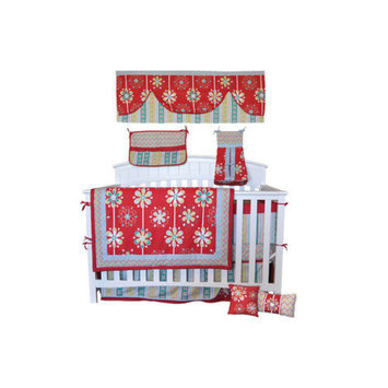 Divina DK Leigh Red Graphic Floral 10 Piece Boutique Crib Bedding Set