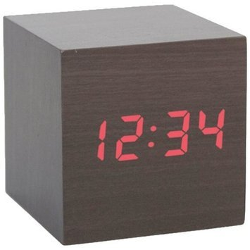 Kikkerland AC22 Clap-On Cube Alarm Clock, Light Wood [Light Wood]