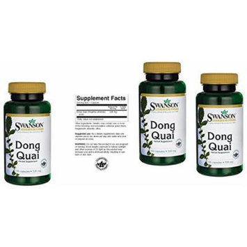 Dong Quai Root 530 Mg 100 Caps By Swanson, Pack of 3