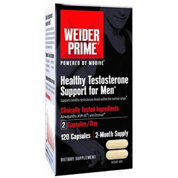Weider Prime Healthy Testosterone Support for Men with Cordyceps, KSM-66, and Chromium, 120 Capsules
