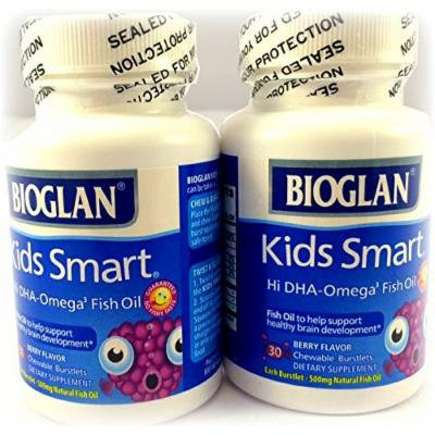 BioGlan Kids Smart Hi DHA Omega-3 Fish Oil 30 ea, Chewable Burstlets, Berry,Pack of 2