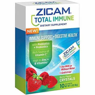 Zicam Total Immune Immune Support + Digestive Health, Berry Flavor Crystals, 10 Packets (Pack of 2)