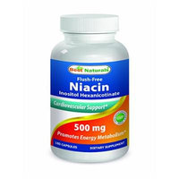 Niacin 500 mg 180 Capsules by Best Naturals - Flush Free Niacin (Vitamin B-3) - Manufactured in a USA Based GMP Certified and FDA Inspected Facility and Third Party Tested for Purity. Guaranteed!!