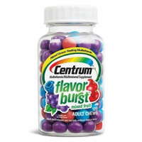 Centrum Flavor Burst Chews Adult Multivitamins, Mixed Fruit 120 ea Pack of 4