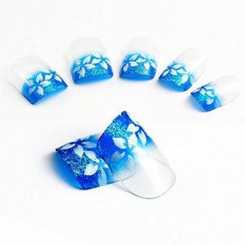 Bling Art Stiletto False Nails Fake Acrylic Blue Flower Tips 24 Full Cover Medium UK