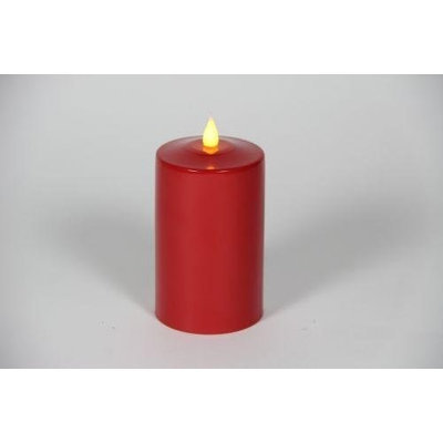 Delighted Home MC-M5R Hand-Waxed Battery-Operated 5 in. Red MC Pillar Candle