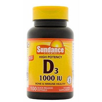 Sundance Vitamin D3 Supplement 1000 IU Softgels, 100 Count