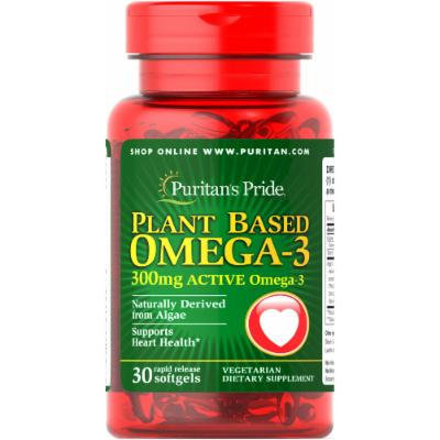 Puritan's Pride Plant Based Omega 300 mg-30 Rapid Release Softgels