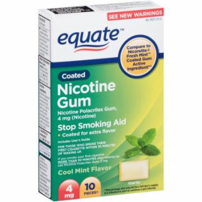 Equate Cool Mint Flavor Coated Nicotine Gum, 4mg, 10 count