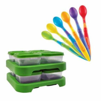 Green Sprouts Polypropylene Baby Food Storage Cubes, 8 Pack with Silicone Spoons