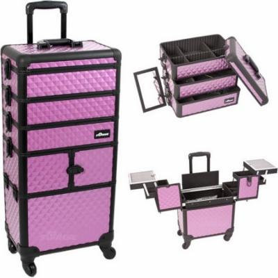 Sunrise I3364DMPLB Purple Dmnd Trolley Makeup Case - I3364